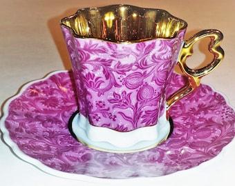 Demi Tasse Teacup and Saucer Set – Pink Floral Pattern