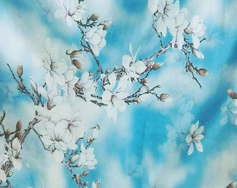 Discounted Stunning Asian Blossom on Blue Digital Printed Pure Silk Organza Fabric Sheer Material 135cm wide By the Yard dza-2021