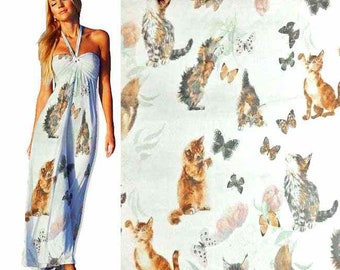 "Pure Mulberry Silk Gorgeous ""Cats And Butterlfies""Digital Print 6mm Pure Silk Chiffon Fabric dressmaking material sheer dpc-33021 X Yard"