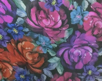 Pure Mulberry Silk dpc-42158 Stunning Vintage flower Digital Print 6mm Pure Silk Chiffon Fabric material sheer