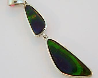 Double Stone Canadain High Quality Ammolite Pendant set on Sterling Silver