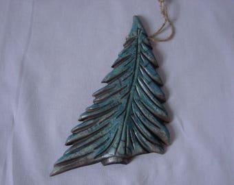 Christmas tree hanging decoration in raku-