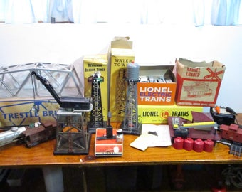 Lionel Trains Magnetic Crane-Water Tower-Rotating Beacon-Trestle Bridge-Barrel Loader-Transformer-Lionel Smoke-Toy Trains