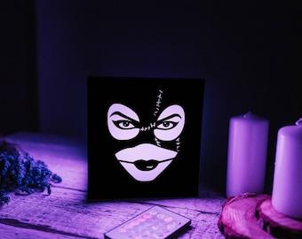 Wood led lamp Catwoman Selina Kyle/Marvel christmas gifts/Marvel anniversary gift/Marvel wedding gift/Marvel superhero party gifts
