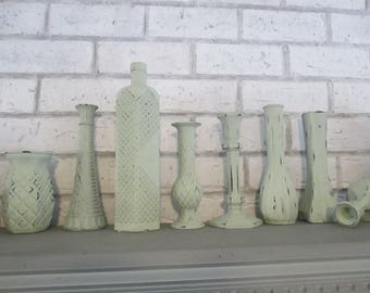 Set of 8 soft green Vases and Candlestick holders