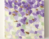 "Original Acrylic Impasto Painting on Canvas with Glitter and Gold Flake, Purple, Green, Yellow, Gold, 12""x12"""