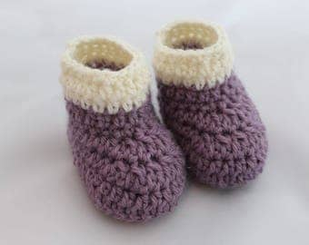 Dusky Purple with White Stripe Booties - 100% Wool