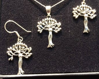 Small set goddess tree pendant and earrings girlfriend gift