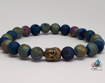 Ladies 8mm Mixed Druzy Agate Bracelet with Buddha Charm|Handmade|Jewelry|Gift for Her