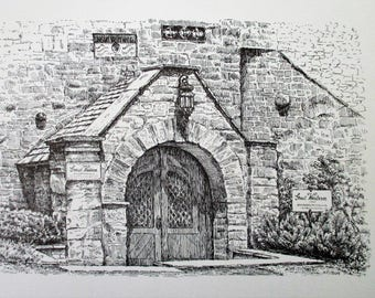 Pen and Ink Print: Winery Archway, Black and White