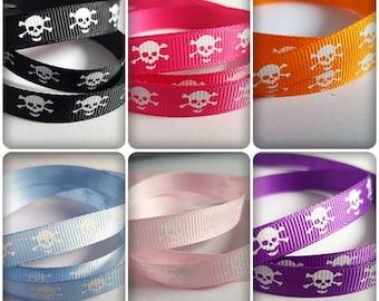 Skull ribbon, Skull and crossbones ribbon, Halloween ribbon, Printed ribbon, Grosgrain ribbon, Craft ribbon, Skulls, Skull and crossbones