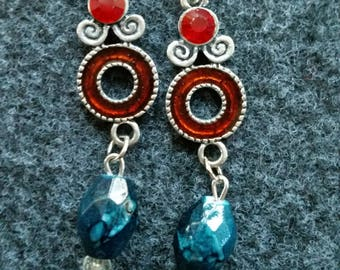 Unique red and teal earrings