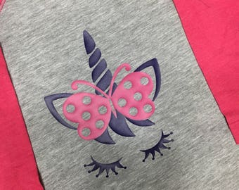 Toddler Unicorn w/Butterfly Bow Raglan