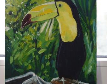 Toucan Original Oil painting handmade