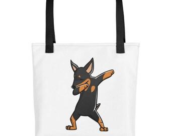 Funny Dabbing Miniature Pinscher Tote bag, Cute Min Pin Dog bag
