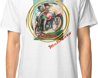 Inished Productions Art Deco inspired classic retro bespoke urban Motorcycle art T-Shirt Melimoto