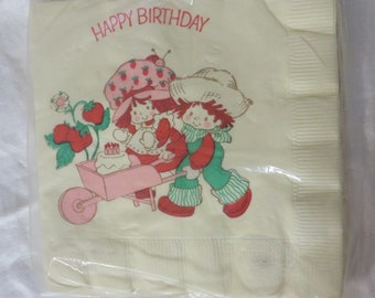 Vintage 80s Strawberry Short Cake Luncheon Garden Party Napkins Sealed American Greetings True Vintage 80s Retro Tea Party Birthday New NOS