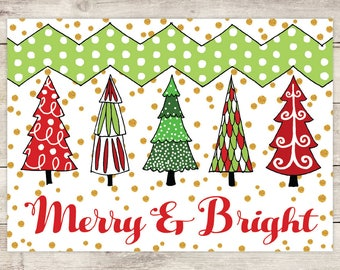 Merry & Bright - Christmas Photo Card