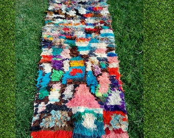 beautiful small vintage boucherouite rugs, 178 x 70 cm
