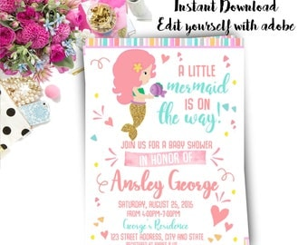 Mermaid Baby Shower Invitation, Mermaid Invitation, Mermaid, Baby Shower, Invitation, Invite, watercolor, Instant Download