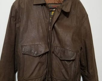 Brown Leather  Bomber Jacket - Original Wilsons House of Suede  Mens size L Pre-owned