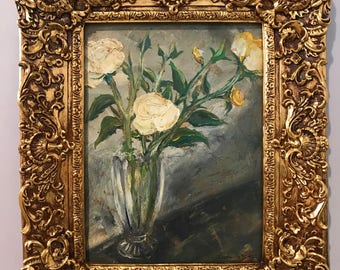 Roses in vase, framed