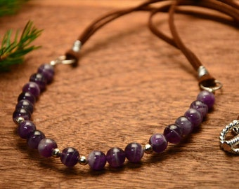 Violet boho necklace, boho amethyst necklace, necklace with stones, amethyst gemstone necklace, ultra violet necklace, gift for mom