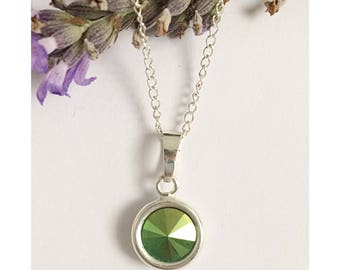Sterling silver necklace made using Swarovski crystal in Scarabaeus green