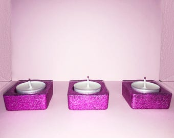 Glitter Candle Holder Set