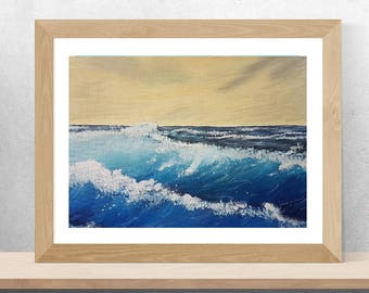 "8"" X 10"" PRINT original seascape painting ocean waves water sea beach home decor gift for women men vacation california surfer surfing"