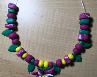 Beaded Lily Necklace
