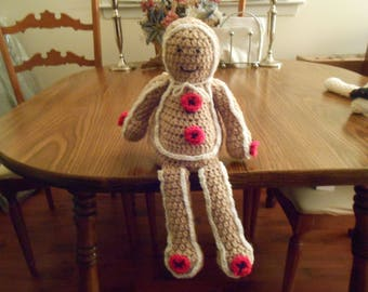 New HANDMADE Crocheted Gingerbread Man Shelf Sitting Ornament