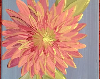 Pink Dahlia in the Sky