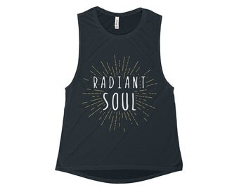 Womens Flowy Scoop Muscle Tank, Radiant Soul , Yoga, Pilates, Workout, Running, Gym, Lifting, Workout Tank Top