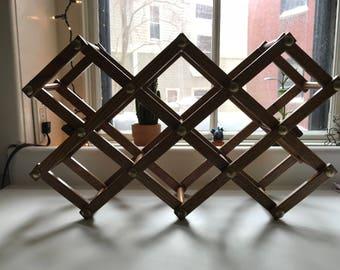 Vintage Folding Wooden Wine Rack / Boho Wine Rack / Funky Folding Wine Rack