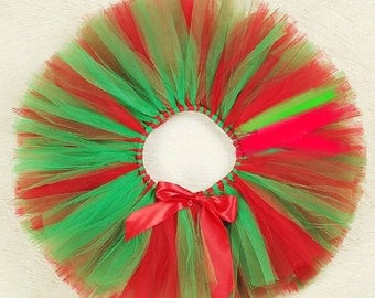 Baby girl Christmas tutu red and green with bow