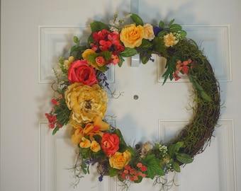 Spring Summer Wreath, Door Wreath. Easter Wreath
