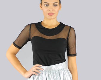 Black Mesh Dressy Top
