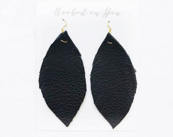 BLACK {NIGHTOWL COLLECTION} - Feather Leather Statement Earrings