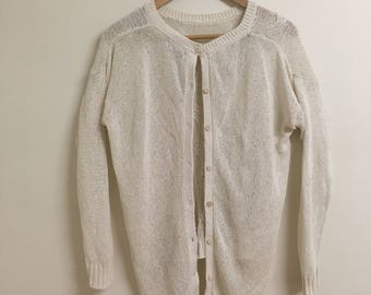 Small Vintage Massimo Dutti White Knitted Cardigan