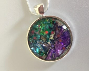 Alcohol Ink Pendant and earrings