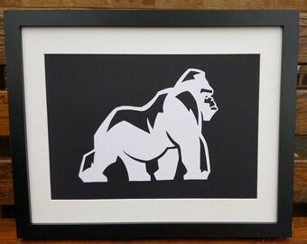Gorilla picture - Handmade gorilla papercut wall art, unframed silhouette.