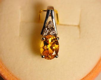 Citrine and Diamond Sterling Silver Pendant