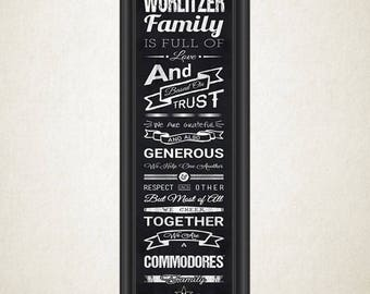 Personalized Vanderbilt Commodores Family Cheer Print - Black Background - Personalized Print - Family Print - Framed Print - Wall Decor