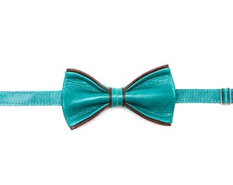 Turchese Leather Bow Tie