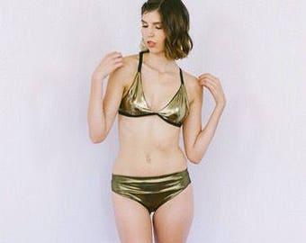 Gold Bikini bottom with foldover waistband