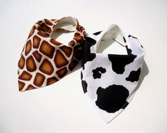 Bamboo bandana bibs-Baby bandana bibs-Baby giraffe bib-Baby cow bib-Baby gender neutral bibs-Baby shower gift
