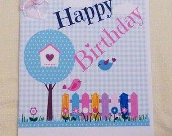 Handmade Greeting Card, Girls Birds Birthday Card,  Childrens Birthday Greeting Card, Made in the USA, #5