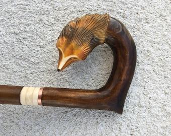 Cane Walking Stick Wooden Handmade Hand Carving Fox