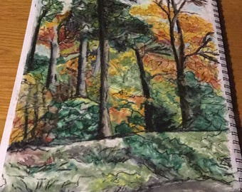 Trees - criag-y-nos country park, mid Wales a3 oil pastel drawing